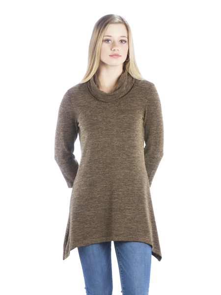 Sweater Tunic with Cowl Neck and Irregular Handkerchief Hem, Brown