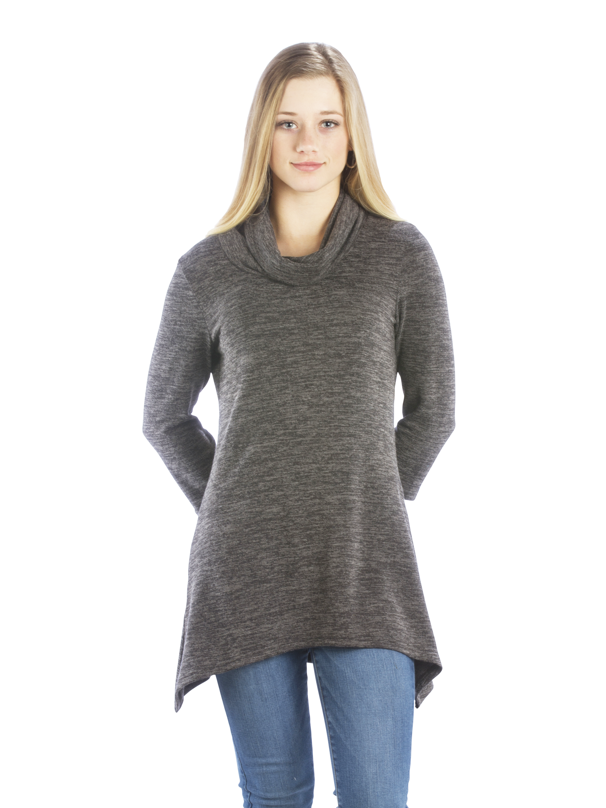 Sweater Tunic with Cowl Neck and Irregular Handkerchief Hem, Charcoal