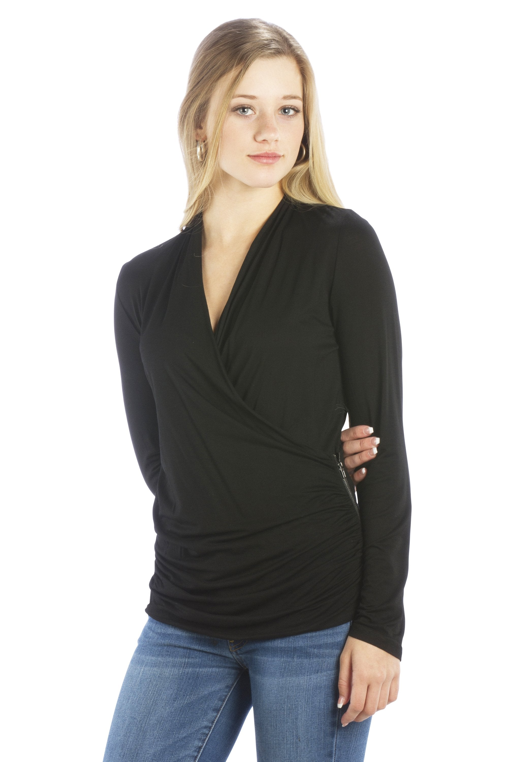 V Neck Faux Wrap Top with Zipper Side in Black