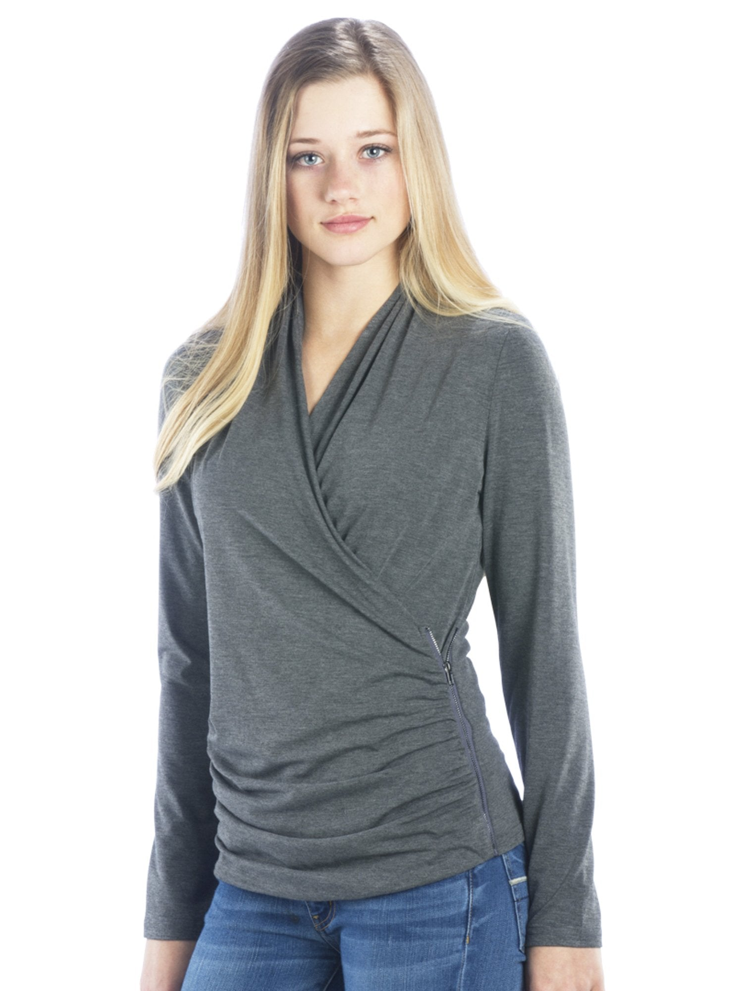 V Neck Faux Wrap Top with Zipper Side in Charcoal