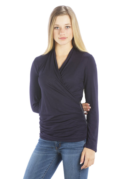 V Neck Faux Wrap Top with Zipper Side