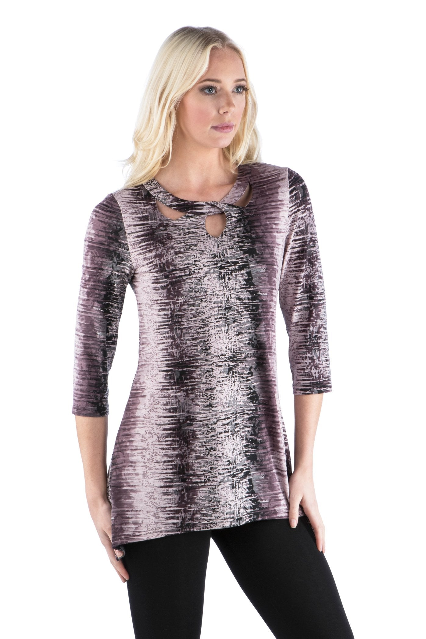 Keyhole Cut Out Neckline Printed Tunic with 3/4 Sleeves, Print Purple