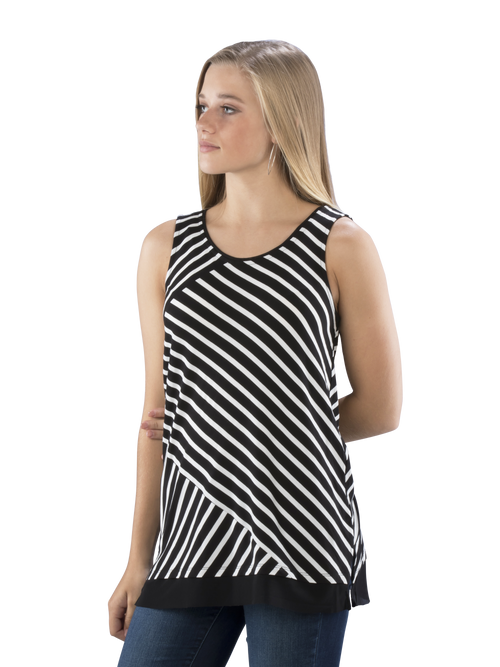 Striped Panel Tunic w/ Mesh Trim