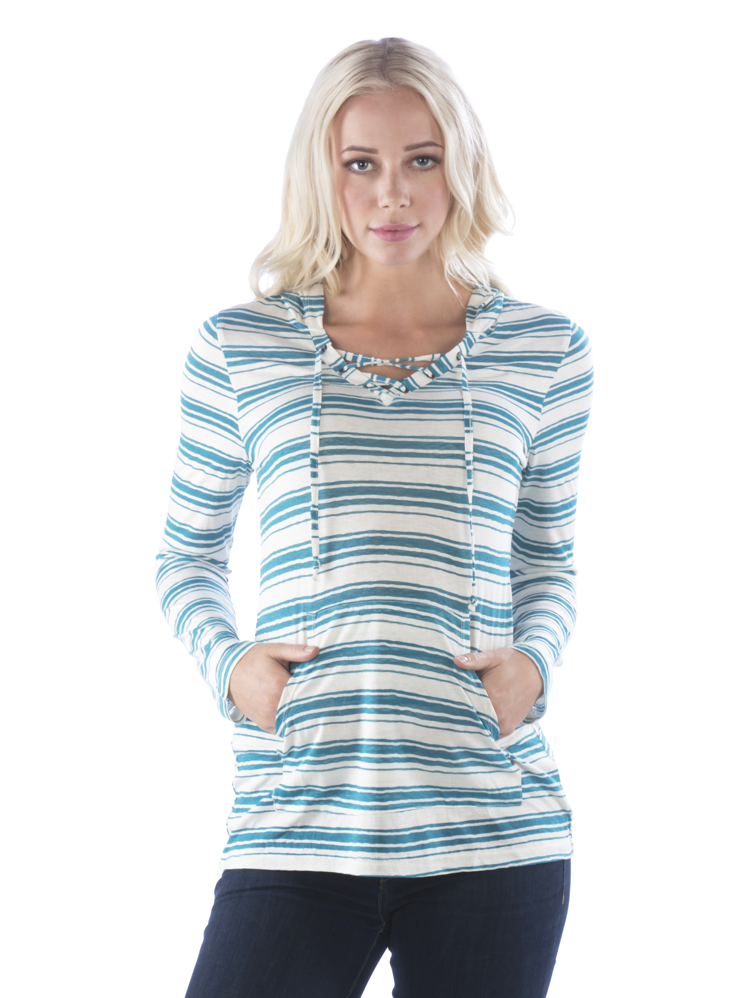 Laced V Neck Striped Hoodie