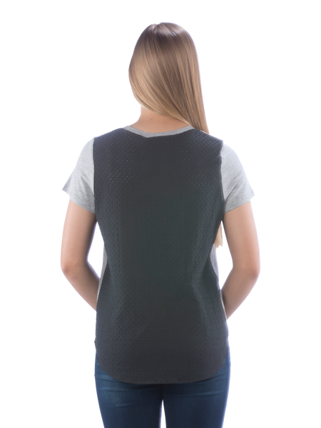 Neesha Womens Mixed Media Pocket Tee with Eyelet Back in Heather and Black