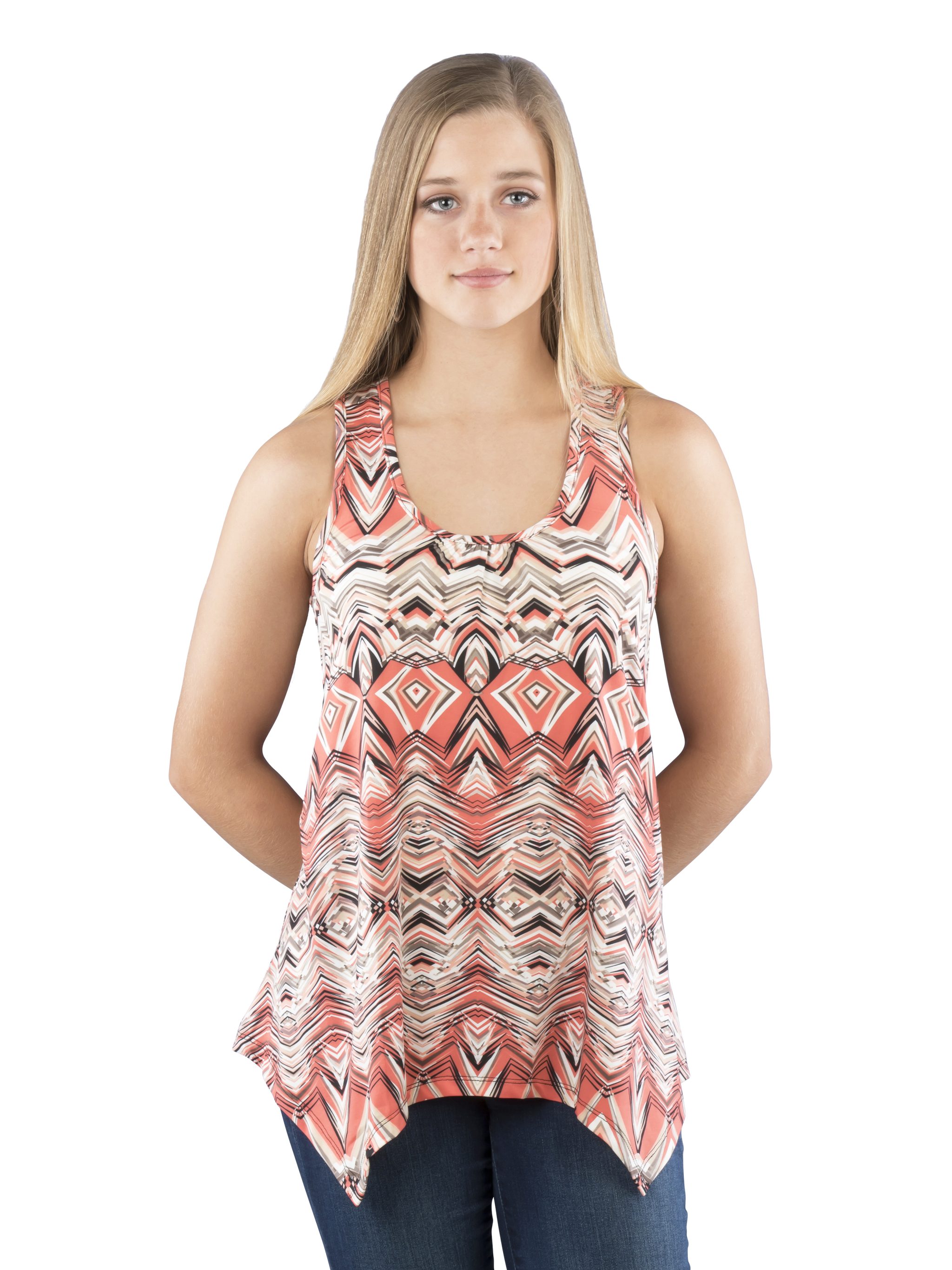 Coral Racerback Tank Top with Irregular Hem