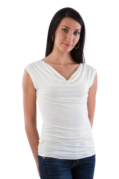 Cowl Neck Ruched Tee
