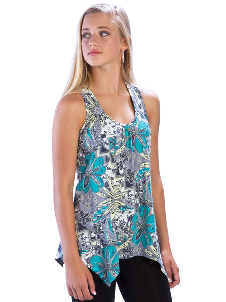 Teal Racerback Tank Top with Irregular Hem