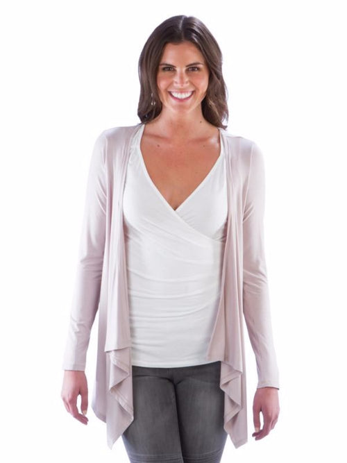 Flowy Open Front Cardigan - Taupe