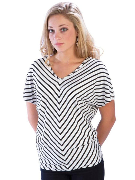 Striped Dolman Open Sleeve Top