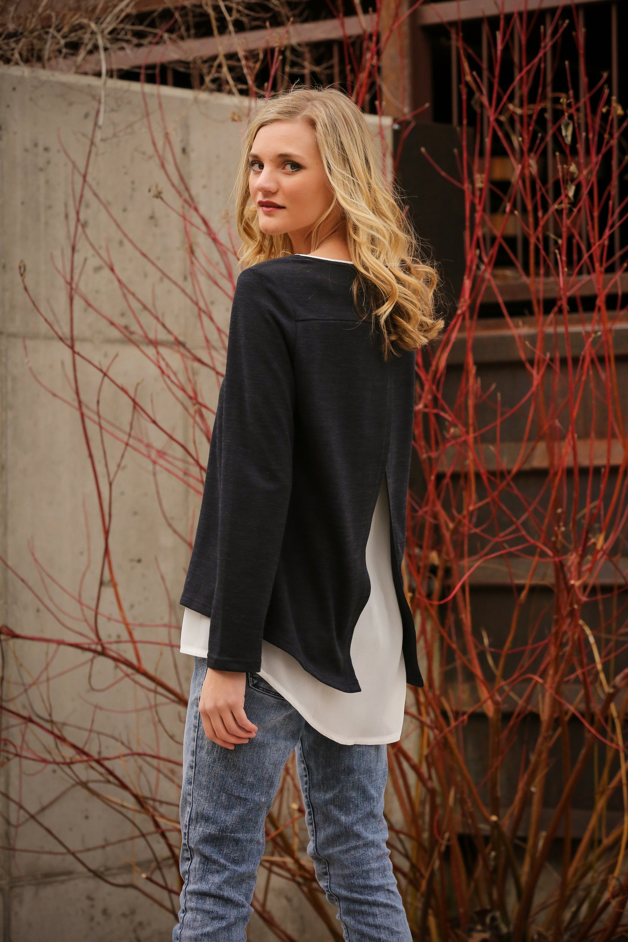 Open Back Layered Top in Black