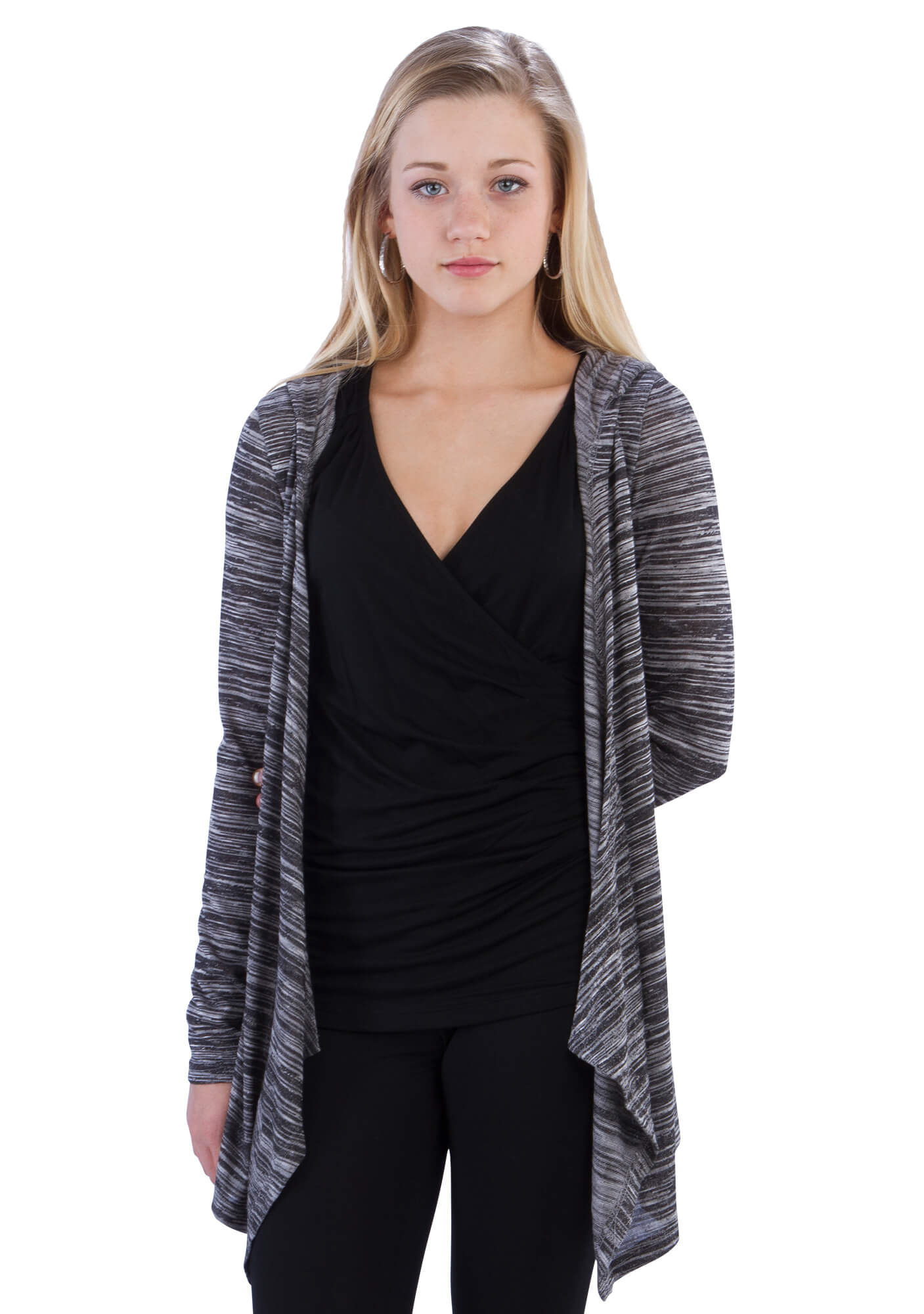 Space Dye Hoodie Cardigan with Drape Front