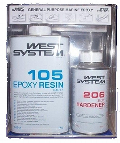 West System Epoxy Resin 1 2kg 105/206 Slow Hardener