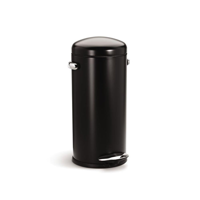 30L BASURERO ELEVABLE REDONDO NEGRO/ ACERO INOXIDABLE