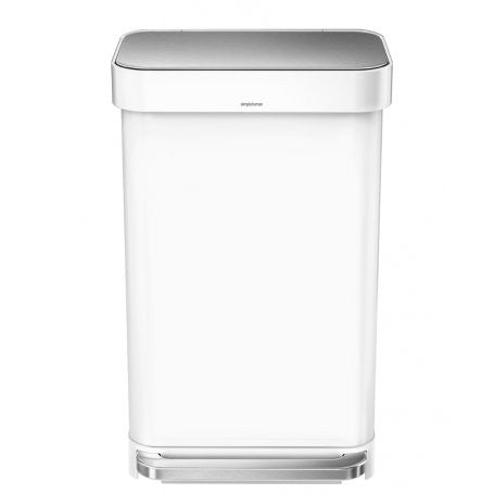 45L BASURERO RECTANGULAR BLANCO/ACERO INOXIDABLE