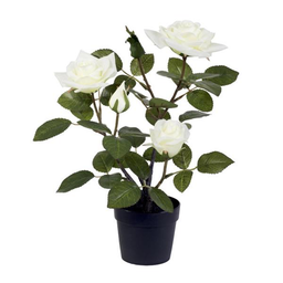 MACETERO CON PLANTA ARTIFICIAL(CHINESE ROSE)