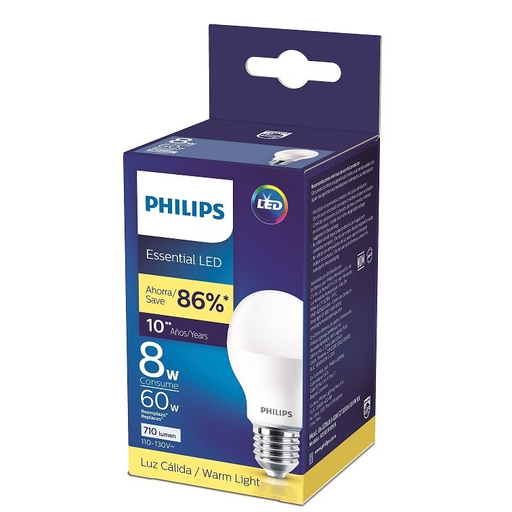 BOMBILLO LED ESSENTIAL 8-60W E27 3000K A19 1PK MX