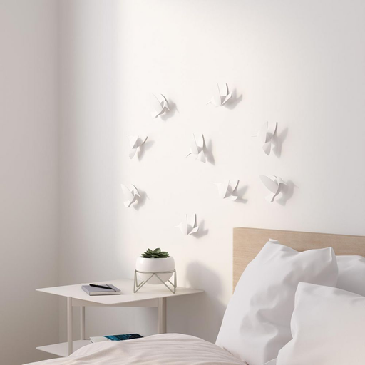 ADHESIVOS DECORATIVOS DE PARED 3D BLANCOS PAJARITOS