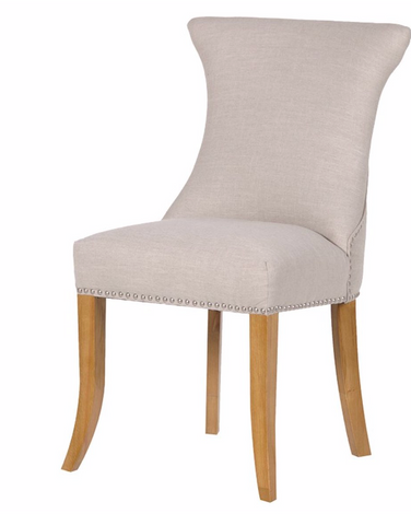 Ivory Studded Dining Chair with Ring  Simple, clean lines with an encompassing curved back, with a silver ring back detail, the Ivory studded dining chair has the timeless appeal of a true classic.  Dimensions: H: 970mm W: 590mm D: 630mm
