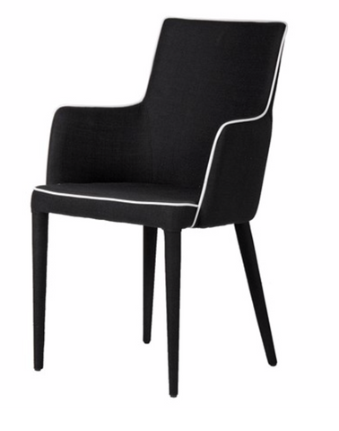India Jane Chair by The Interior Co Black with Cream Piping