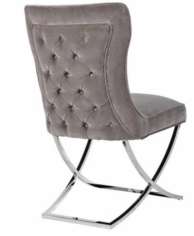 Modern 'Mouse Grey' Velour Dining Chair With Silver Cross Bar Legs