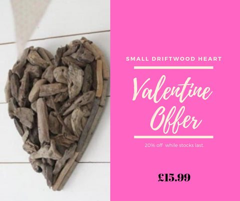 Valentines Weekend Offers - Discounts and Free Goods The Interior Co Driftwood Heart Deal