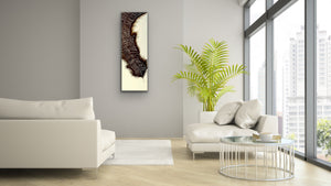 "Original Canvas Feather painting ""Drama"" 35 x 12 inch by Kerrie Griffin Available from The Interior Co"