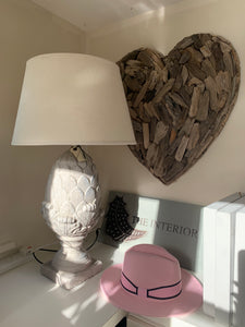 Artichoke Stone Effect lamp With Cream Shade