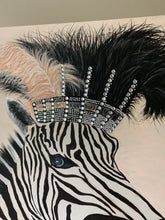 Load image into Gallery viewer, Zebra Diva In lockdown By artist Kerrie Griffin The Interior Co  61cm x 61cm