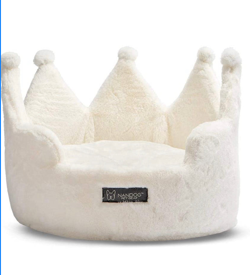 NANDOG Crown Collection Dog and Cat Bed (Ivory Cloud)