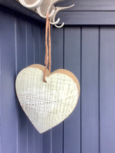 Load image into Gallery viewer, Chunky Cream Wooden distressed heart With Leather Twine Hanger