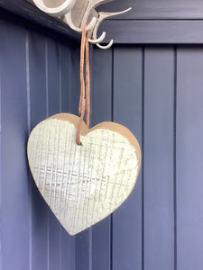 Chunky Cream Wooden distressed heart With Leather Twine Hanger