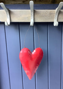 Large Red Rustic Rusty Tin Heart