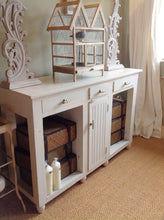 Load image into Gallery viewer, Shabby Chic Distressed Wooden Console Table Painted in F&B White Tie Distressed