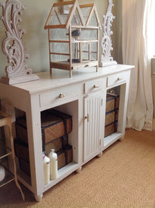 Shabby Chic Distressed Wooden Console Table Painted in F&B White Tie Distressed