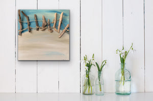 Drift Original Canvas With Driftwood by Kerrie Griffin