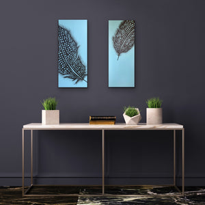 Perfect partners - Gineau Fowl Feather Original Painting On Canvas by Kerrie Griffin Available from The Interior Co