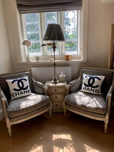 Load image into Gallery viewer, Washed Distressed French Style Armchair Upholstered In Grey Solid Wooden Frame