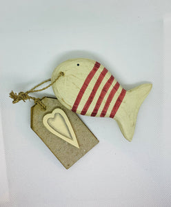 Red Stripy Wooden Hanging Fish With Wooden Heart Tag East Of India