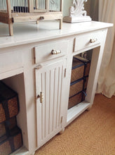 Load image into Gallery viewer, Shabby chic distressed solid mango wood console table in F&B white tie Distressed