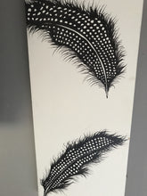"Original Canvas Feather Painting ""Wishes Being Granted"" Cream Background 35x12 inch by Kerrie Griffin-Rogers"