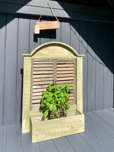 Load image into Gallery viewer, Distressed Green Louvre Shutter Doors Planter