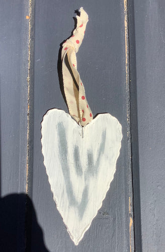 Distressed Galvanised Cream heart on red ribbon small