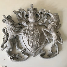 Load image into Gallery viewer, Heraldic Wall Plaque Motif Royal Crest in Distressed Paint Effect