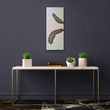 Load image into Gallery viewer, Original Feather canvas Painting on a pale blue background by Kerrie Griffin-Rogers 10 x 24 inches called Release