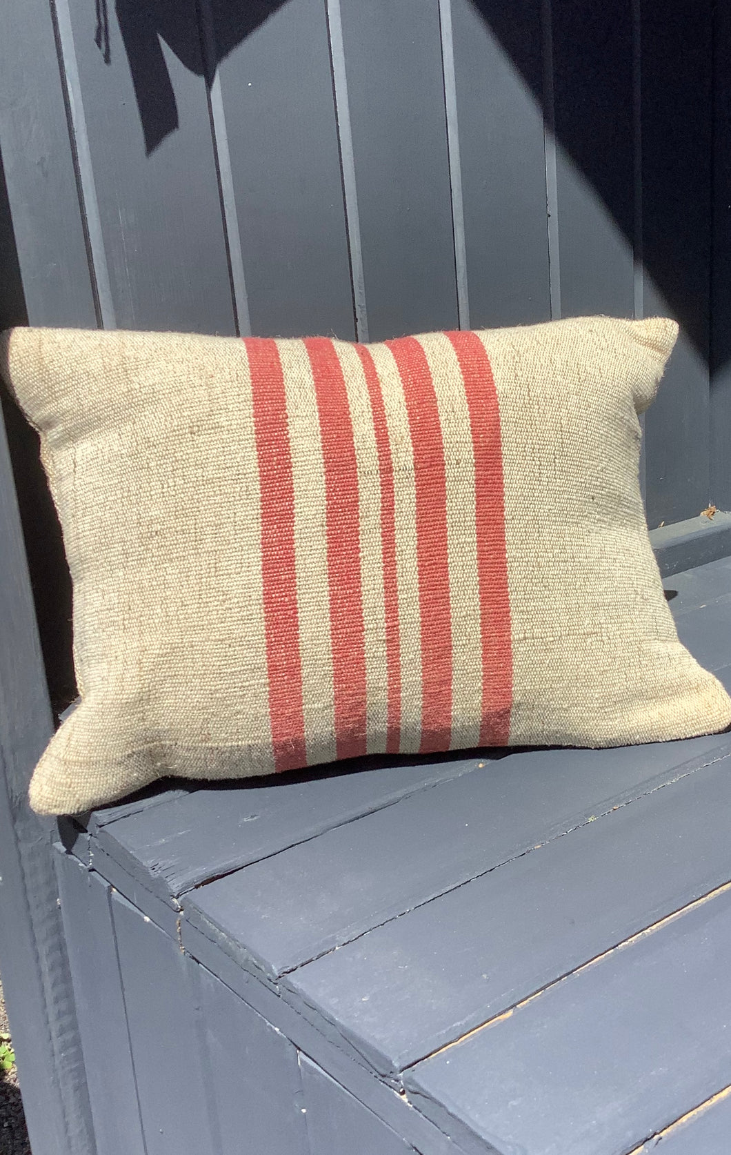 Sackcloth Cushion Linen and Red Stripe  By nukuku