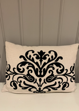 Load image into Gallery viewer, Fleur Motif Detail Linen Cushion With velvet embossed by the interior co