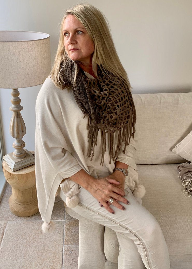 Mondial Poncho in Vanilla By Feathers Of Italy