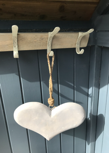 Large Painted Mango Wood Heart With Rope Hanger
