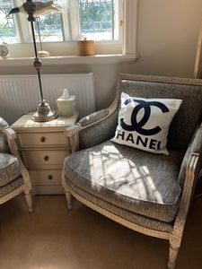 Washed Distressed French Style Armchair Upholstered In Grey Solid Wooden Frame